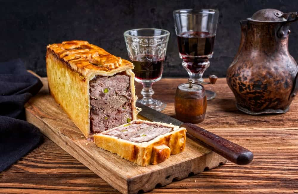 This is a traditional French pate en croute with red wine.