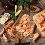 A collage of various different shrimps.