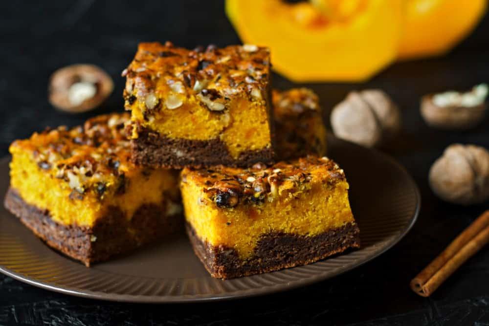 Pieces of pumpkin butternut brownies.