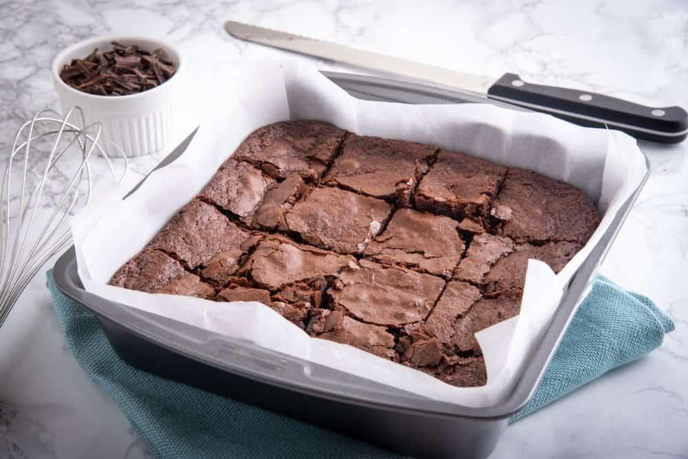 Freshly baked pan of chocolate brownies.