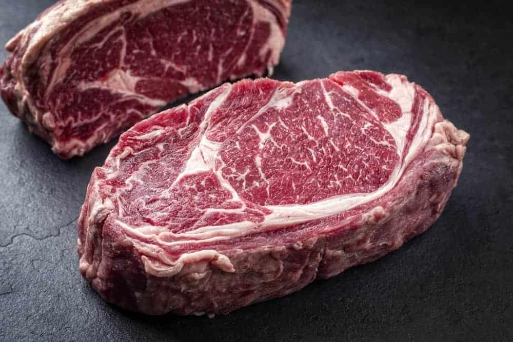 A couple of wagyu rib eye steaks