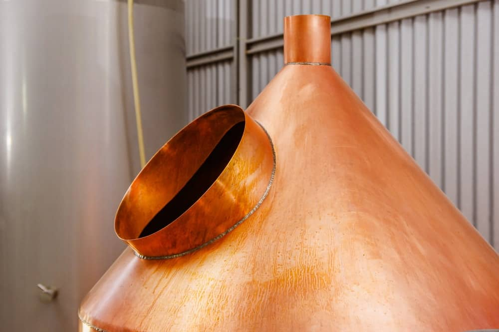 A close look at one of the brewing equipment in a brewery.